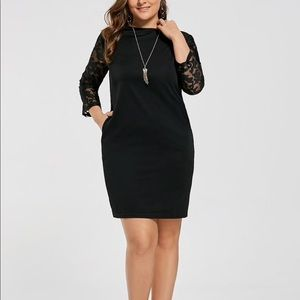 Black Dress with Mesh Lace Sleeves